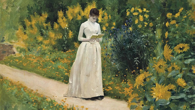 Reading on the garden path