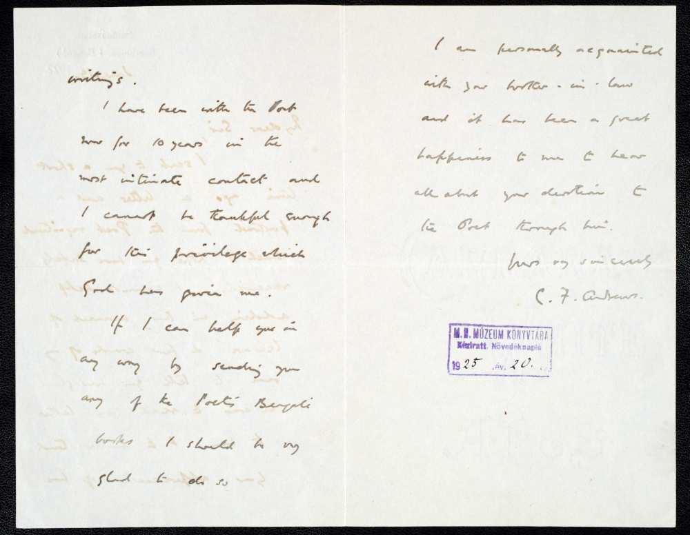 C. F. Andrews levele Baktay Ervinnek – Kézirattár