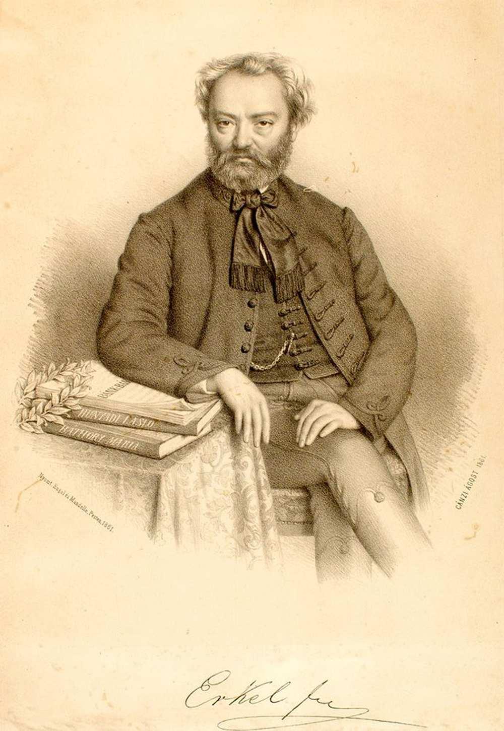 Erkel Ferenc. Kőnyomat. Készítette Canzi Ágoston. Nyomtatta Engel Mór és Mandello Frigyes. Pest, 1861 ‒ Színháztörténeti és Zeneműtár
