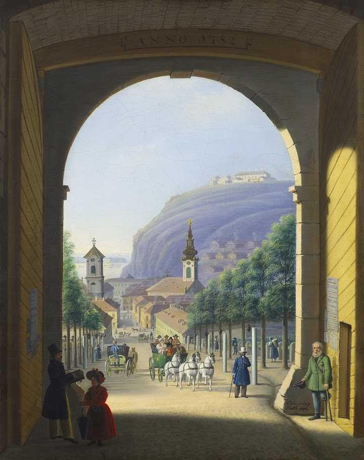 Warschag Jakab (műk. 1822–1867): Kilátás a budai vár Ferdinánd kapujából a Tabánra, 1836. Vászon, olajfestmény – BTM Kiscelli Múzeum, Fővárosi Képtár