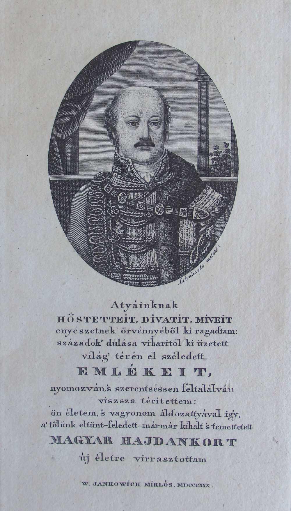 Lehnhardt Sámuel (1790–1840): Jankovich Miklós-arckép, 1830. Rézmetszet – Kézirattár, Jankovich-kéziratok, Fond 16/1