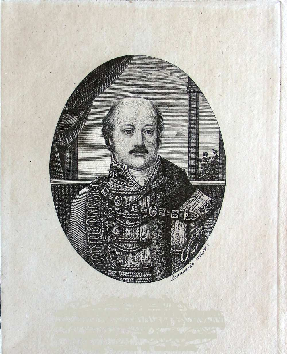 Lehnhardt Sámuel (1790–1840): Jankovich Miklós-arckép, részlet, 1830. Rézmetszet – Kézirattár, Jankovich-kéziratok, Fond 16/1