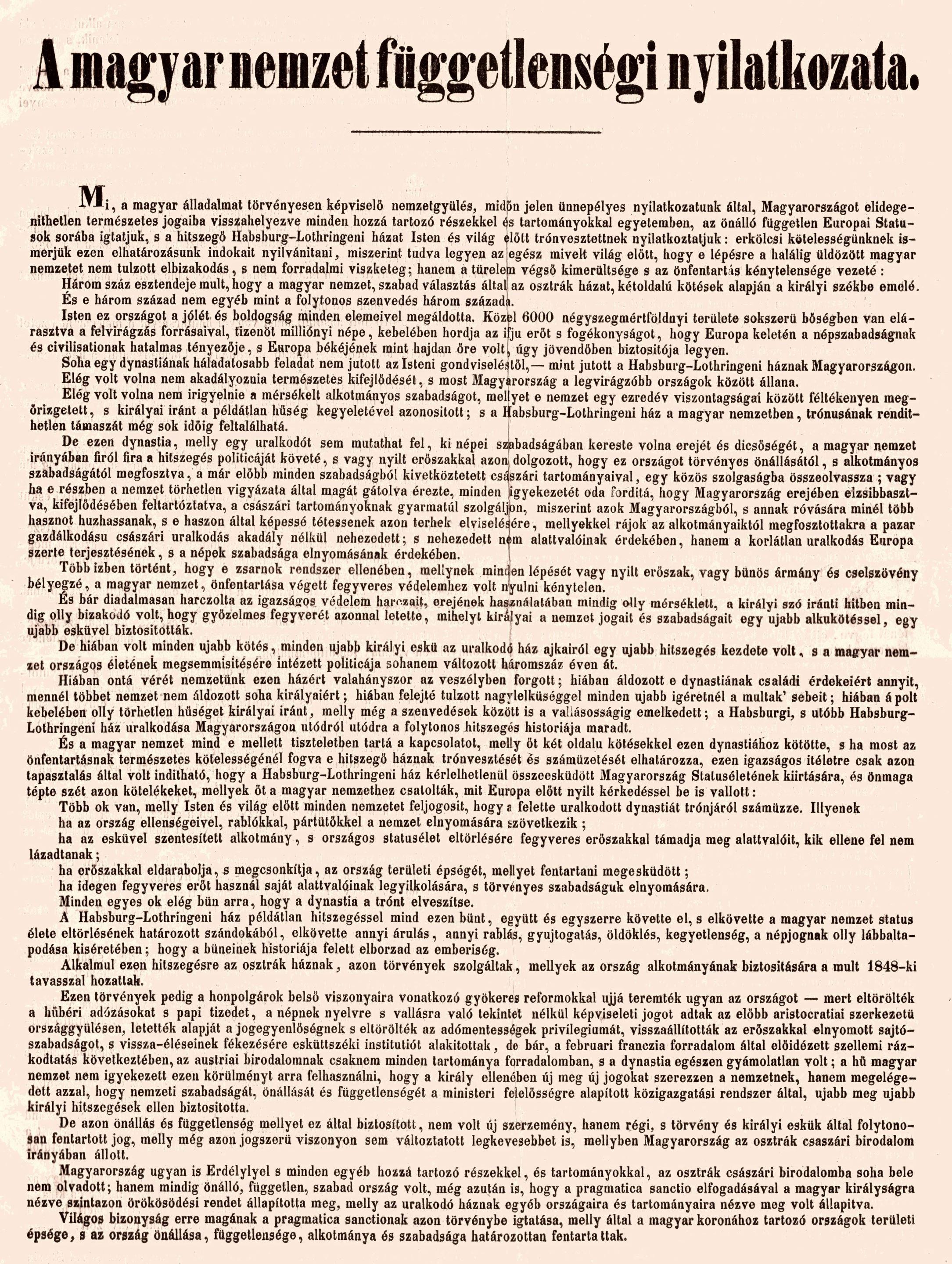 A magyar nemzet függetlenségi nyilatkozata (részlet) – Plakát- és Kisnyomtatványtár