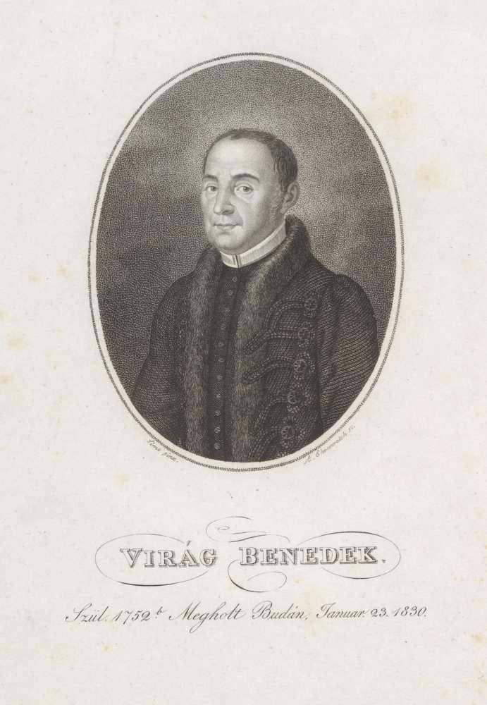 Virág Benedek (1790–1830), költő, műfordító, pálos szerzetes; Simó Ferenc (1801–1869) festménye u. metsz. Ehrenreich Sándor Ádám (1784–1852) (12.5x9.7 cm) Metszet 45e-398 – Plakát- és Kisnyomtatványtár