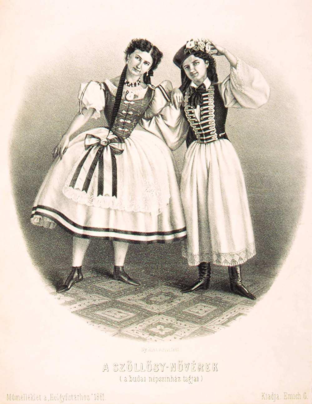 A Szöllősy-nővérek, Róza és Piroska Szöllősy Szabó Lajos Vasmegyei csárdás című táncjelenetében a Budai Népszínház színpadán, 1861. Rohn Alajos litográfiája – Színháztörténeti és Zeneműtár