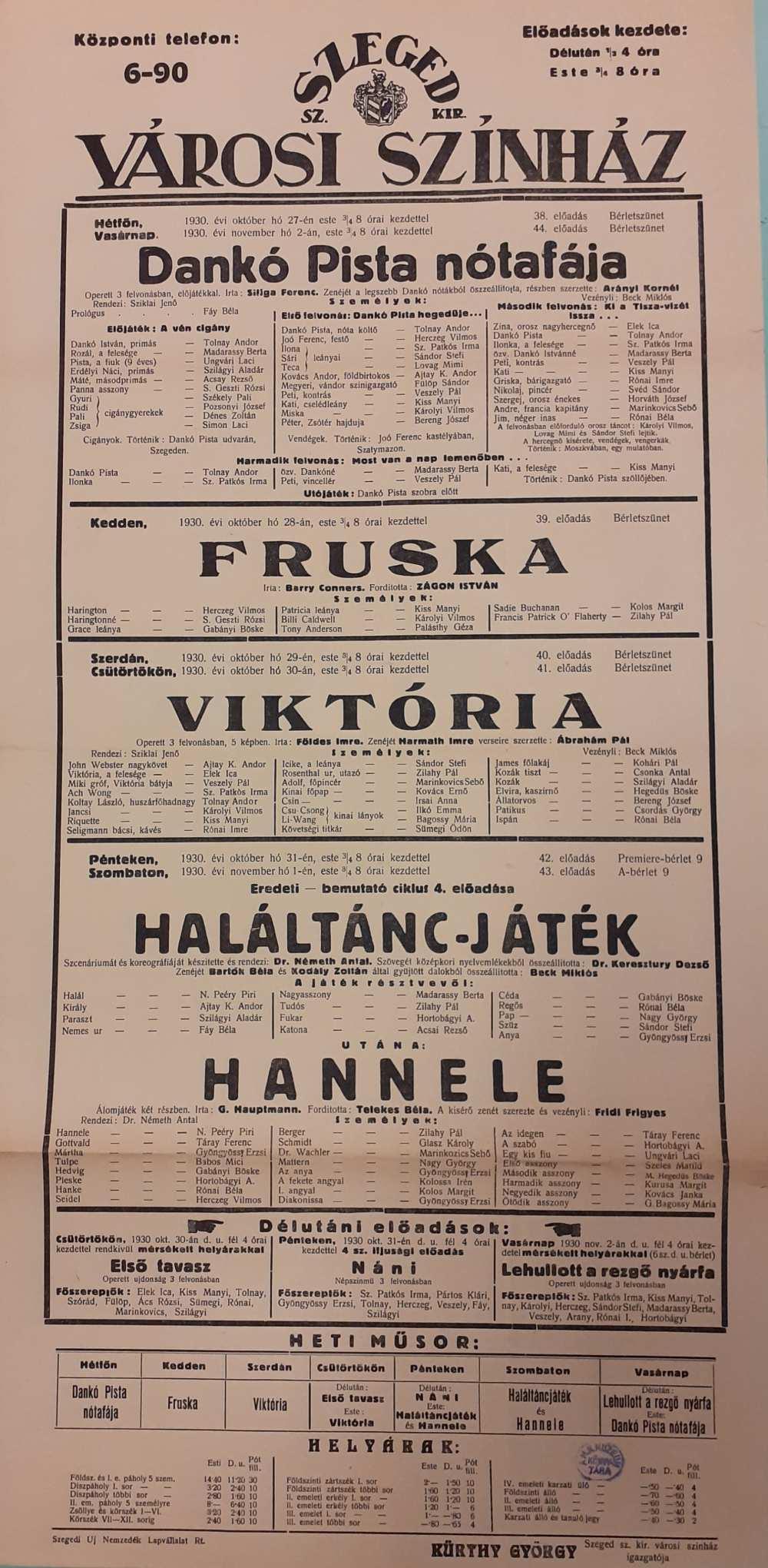Haláltánc-játék. 1930. Színlap – Színháztörténeti és Zeneműtár színlapgyűjtemény
