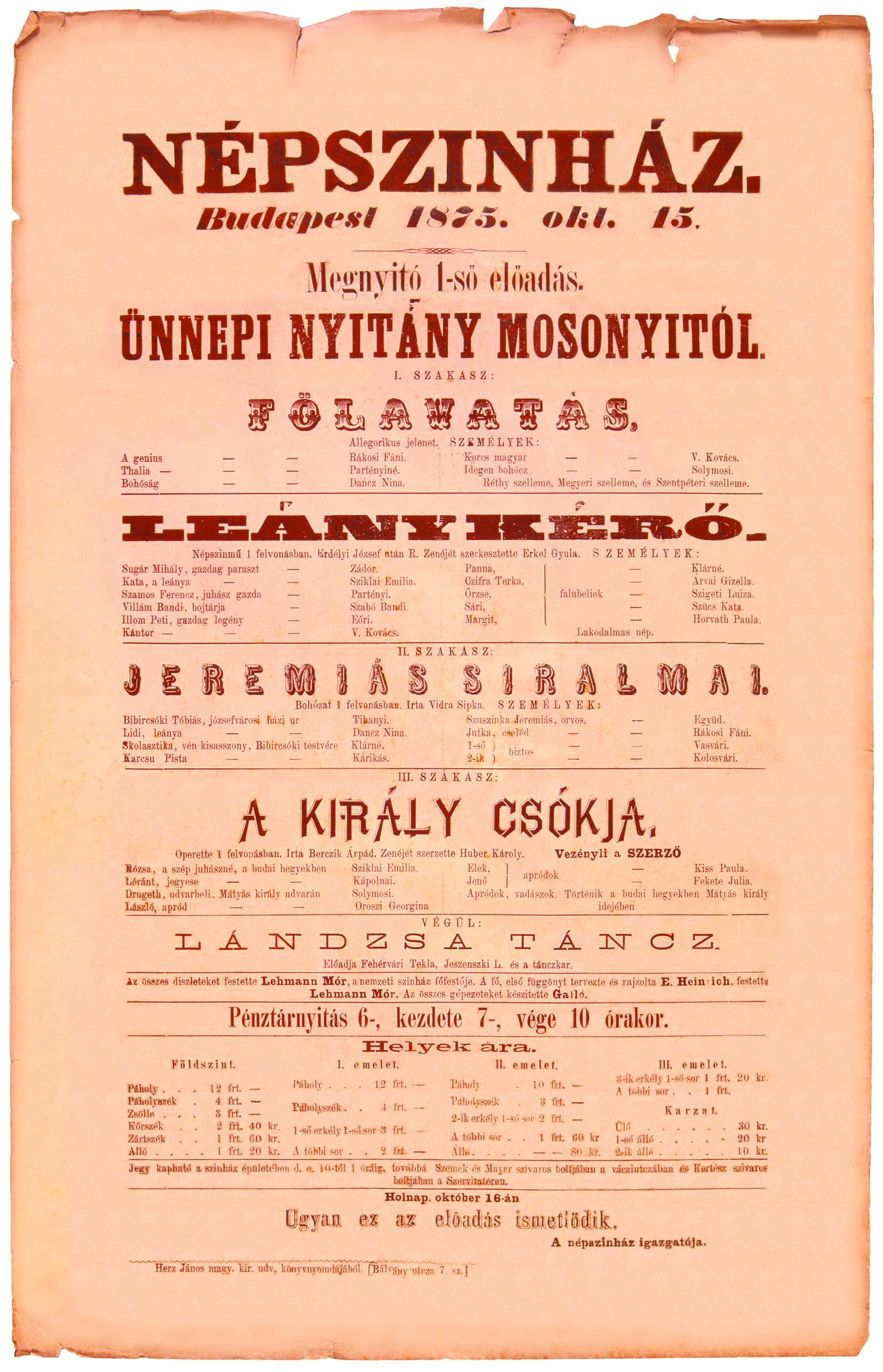 A Népszínház nyitó plakátja