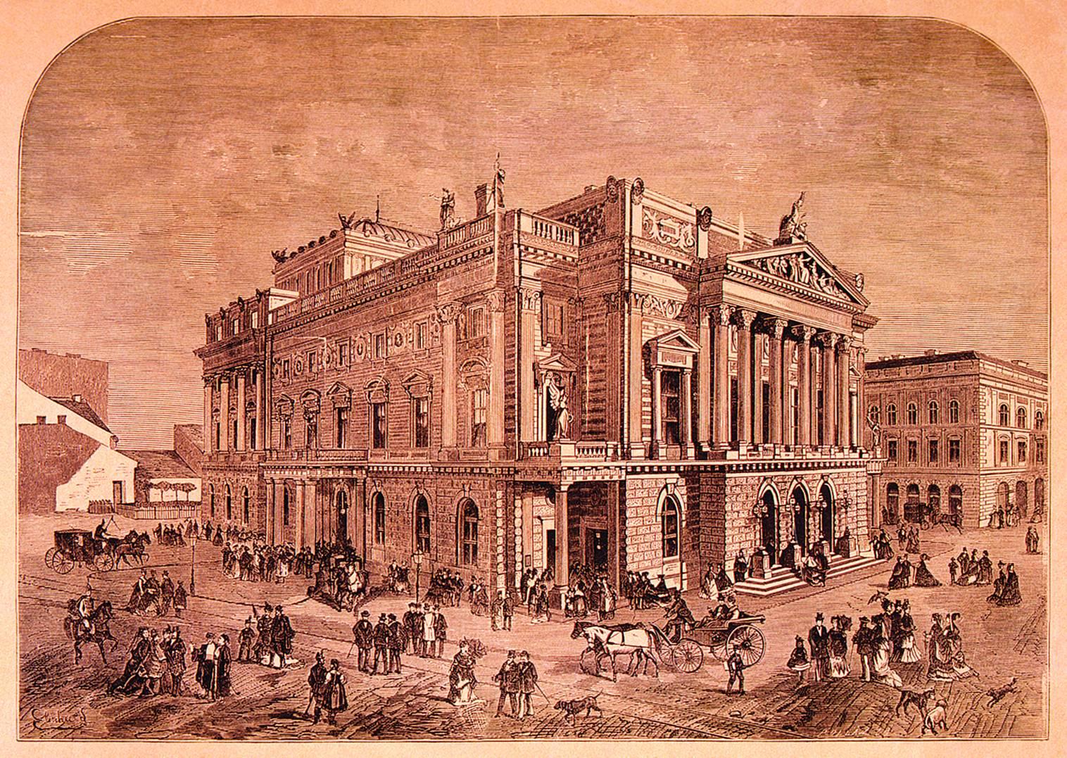 A Ferdinand Fellner és Hermann Helmer tervei nyomán felépített Népszínház, amely 1908-tól a Nemzeti Színháznak lett második – ismét ideiglenes – otthona, míg 1965-ben le nem bontották. Elischer Lajos rajza után, Pollák Zsigmond fametszete. – Színháztörténeti Tár<br /><br />
