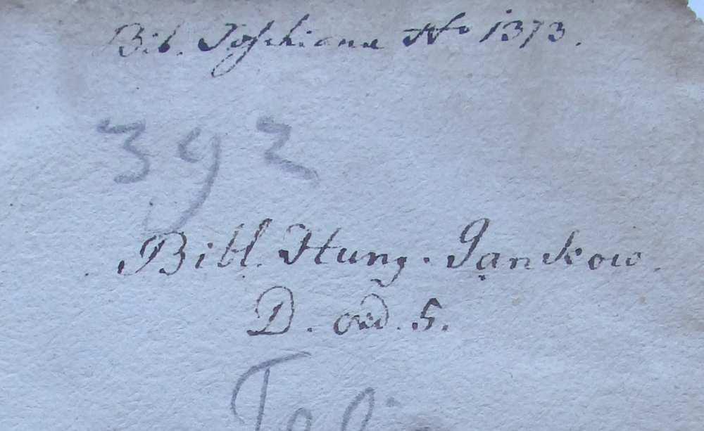 A Jankovich-könyvtárhoz, -gyűjteményhez tartozást jelölő felirat