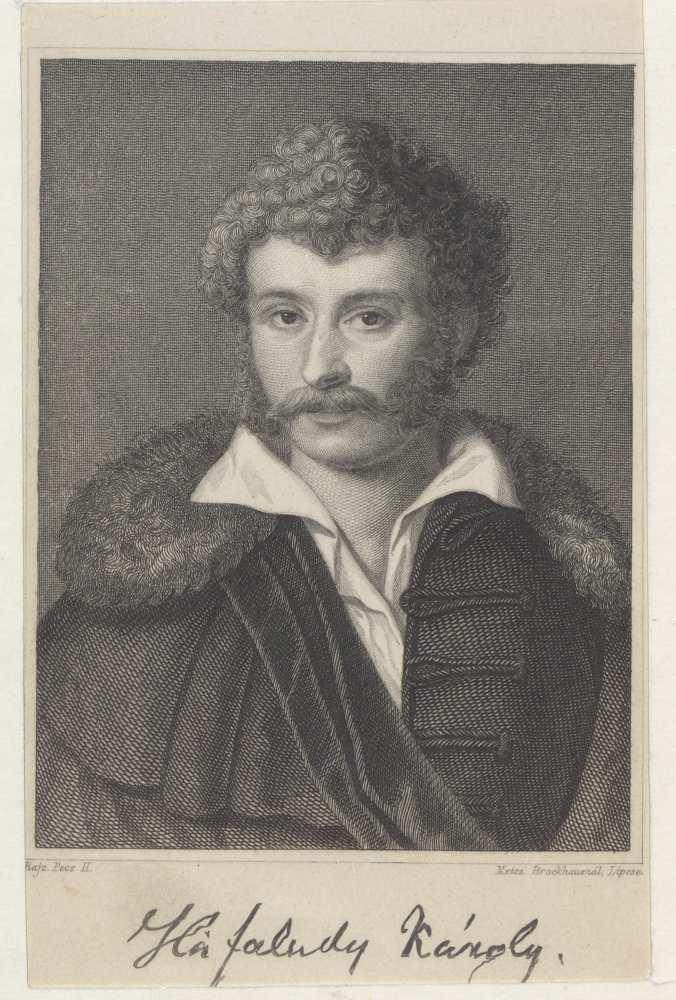 Kisfaludy Károly (1788–1830) költő, színműíró, festő; Pecz Henrick (1813–1868) rajza u. metsz. Friedrich Brockhaus (1800–1865), Lipcse, c. 1800, (12.2x9.2 cm) –Plakát- és Kisnyomtatványtár, Metszet 45e-496