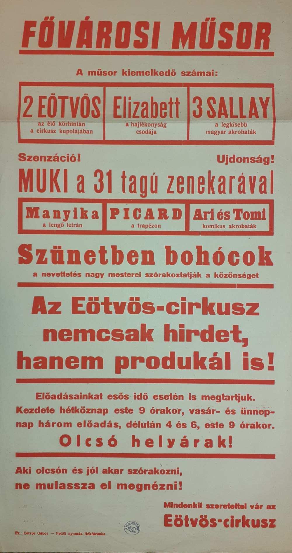 Az Eötvös Cirkusz színlapja. Békéscsaba, 1949. – Színháztörténeti és Zeneműtár