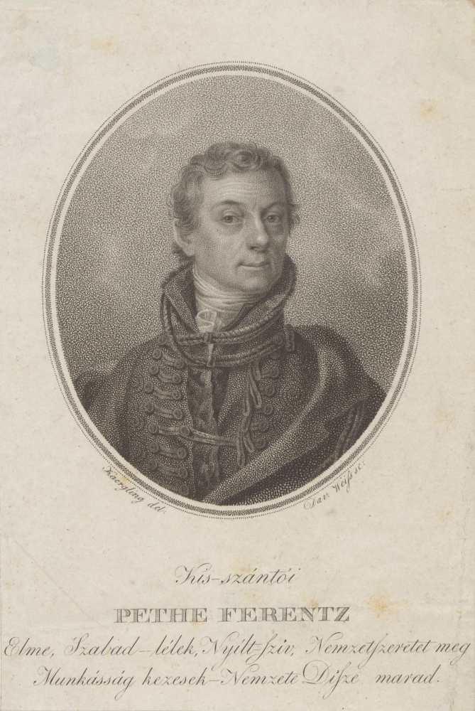Pethe Ferenc (1762–1832) újságíró, mezőgazdasági szakember; rézmetszet; Kaergling János Tóbiás (1780–1845) rajza u. metsz. David Weiss (1775–1846); 16.5x11.3 cm. Metszet 45e-869 – Plakát- és Kisnyomtatványtár