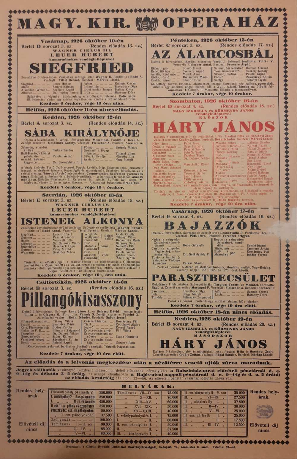 Kodály Zoltán: Háry János. Magyar Királyi Operaház, 1926. október 16. Színlap – Színháztörténeti és Zeneműtár