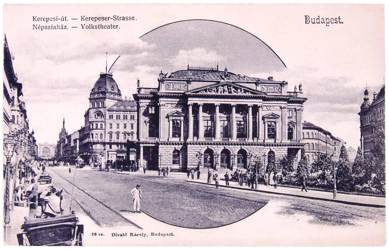 A Budapesti Népszínház a mai Blaha Lujza téren, melyben 2400 néző számára volt ülő- és állóhely. Ez az épület volt 1908 után a Nemzeti Színház otthona, 1965-ös lebontásáig. – Színháztörténeti Tár<br />