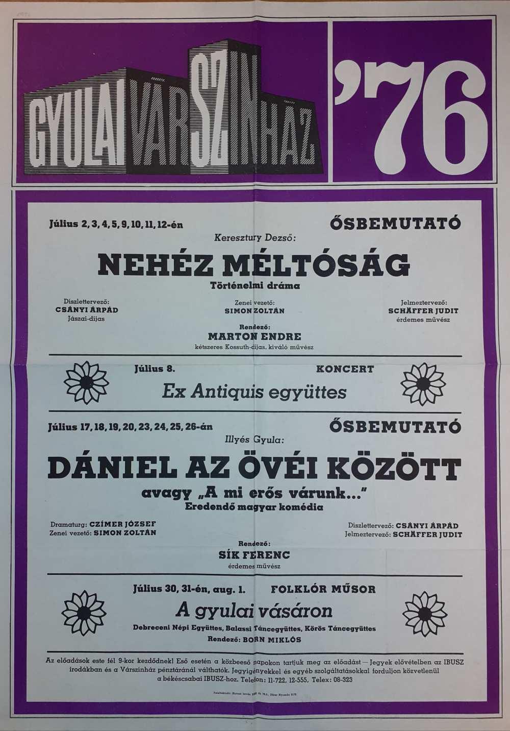 Nehéz méltóság. Gyulai Várszínház. 1976. Színlap – Színháztörténeti és Zeneműtár színlapgyűjtemény