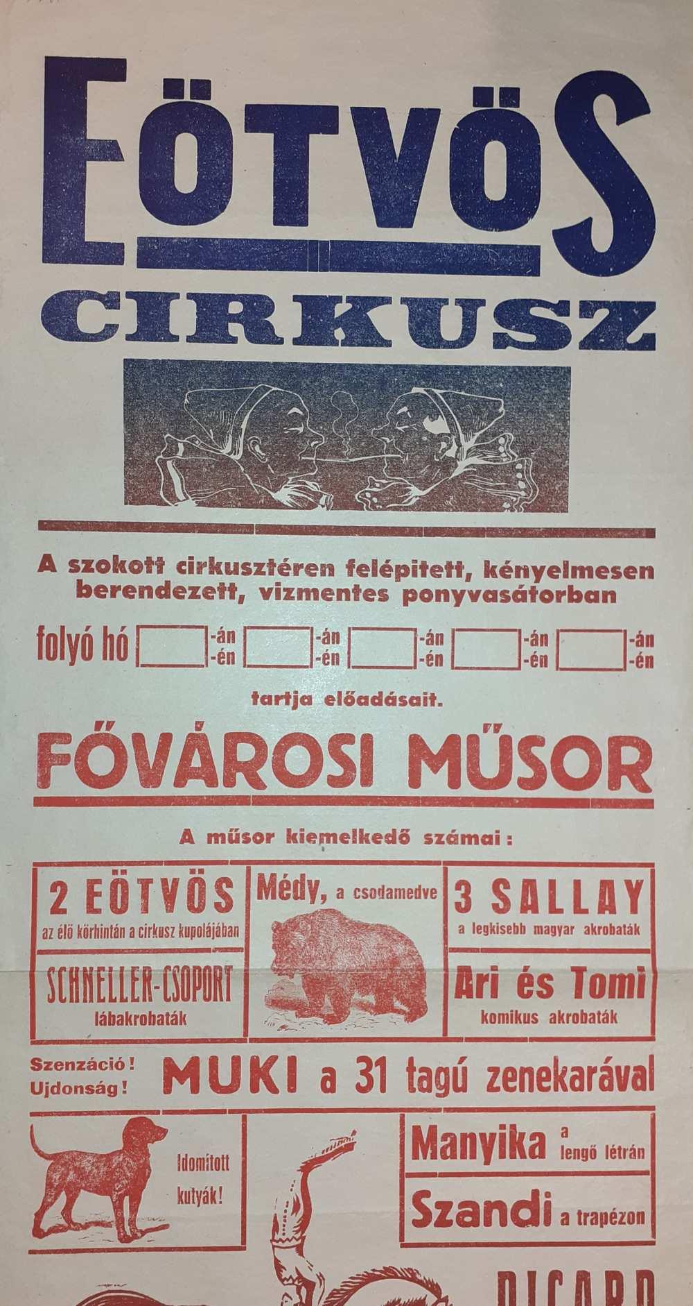 Az Eötvös Cirkusz színlapja. Nagykanizsa. 1950. Részlet. – Színháztörténeti és Zeneműtár