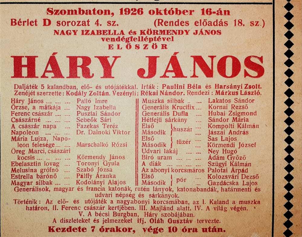 Kodály Zoltán: Háry János. Magyar Királyi Operaház, 1926. október 16. A színlap részlete – Színháztörténeti és Zeneműtár