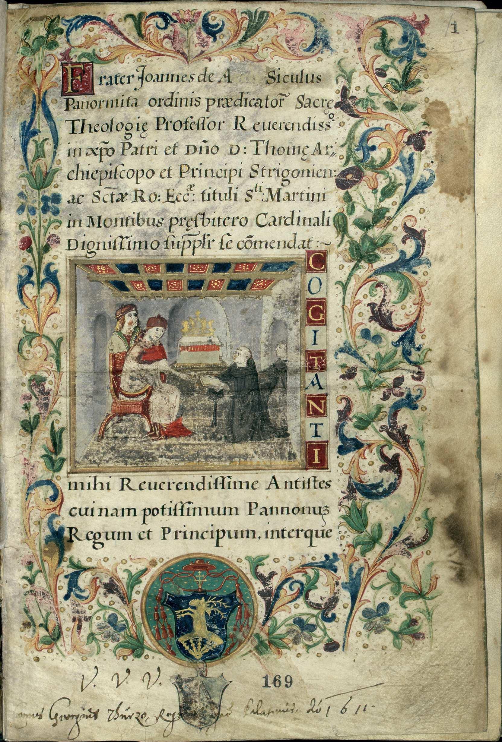 7. kép: Ransanus-corvina, másodlagos címlap – Kézirattár, Cod. Lat. 249., f. 1r