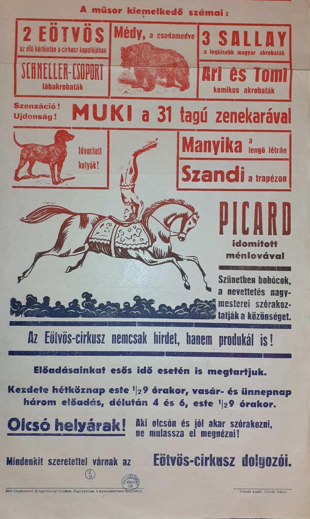 Az Eötvös Cirkusz színlapja. Nagykanizsa, 1950. Részlet. – Színháztörténeti és Zeneműtár