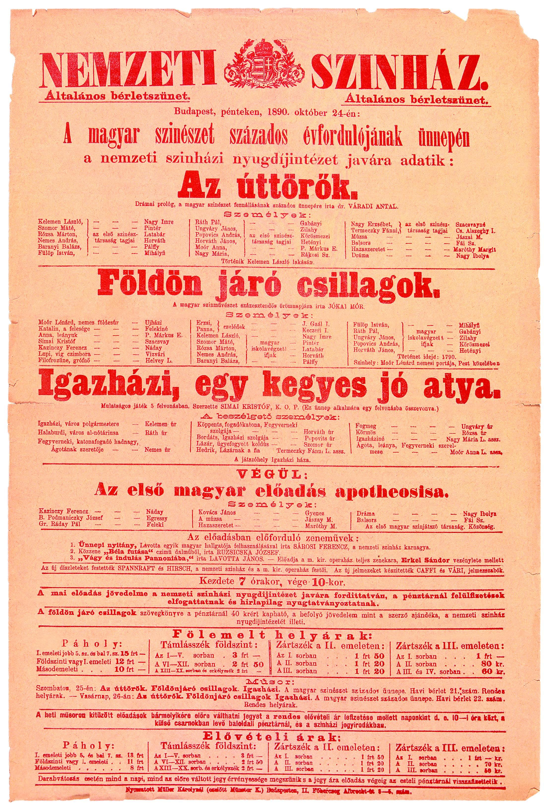 Színlap. Nemzeti Színház, 1890. okt. 24.