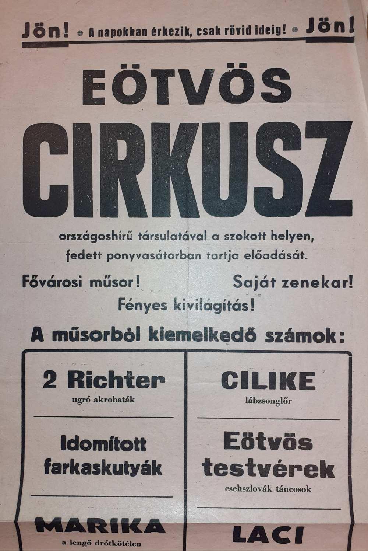 Az Eötvös Cirkusz színlapja. Gyöngyös, 1960. – Színháztörténeti és Zeneműtár