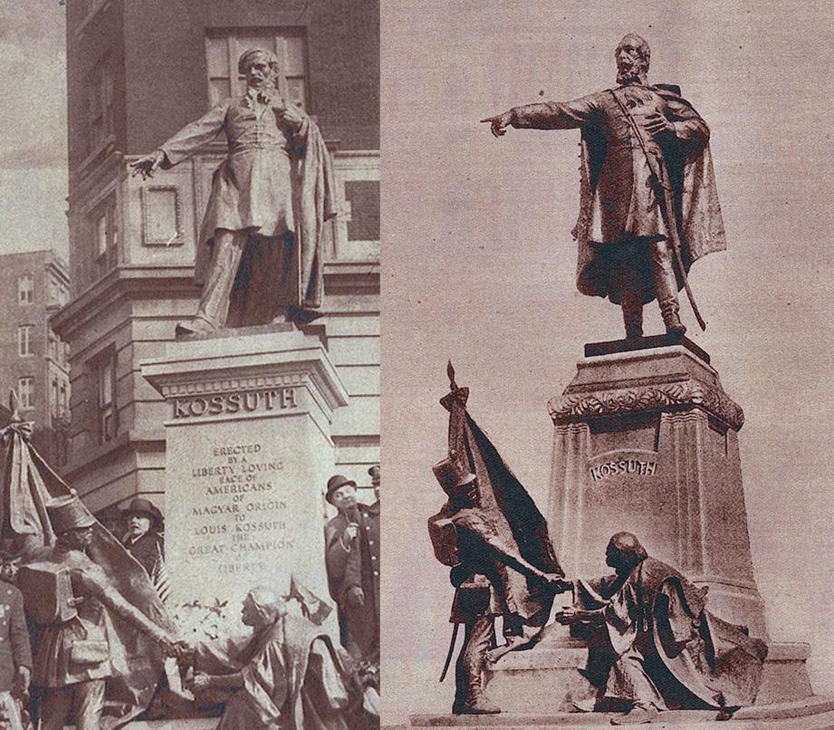 A New Yorki és a ceglédi szobor egymás mellé forgatva