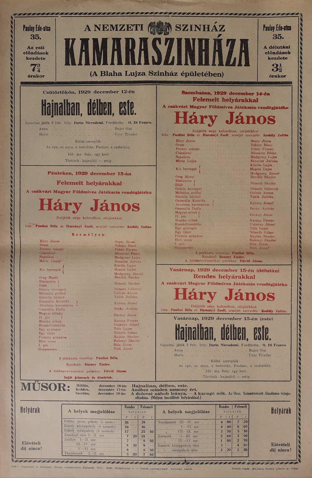 Kodály Zoltán: Háry János. A Nemzeti Színház Kamaraszínháza, 1929. december 13. Színlap – Színháztörténeti és Zeneműtár