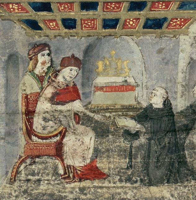 8. kép: Ransanus-corvina, másodlagos címlap – Kézirattár, Cod. Lat. 249., f. 1r, részlet