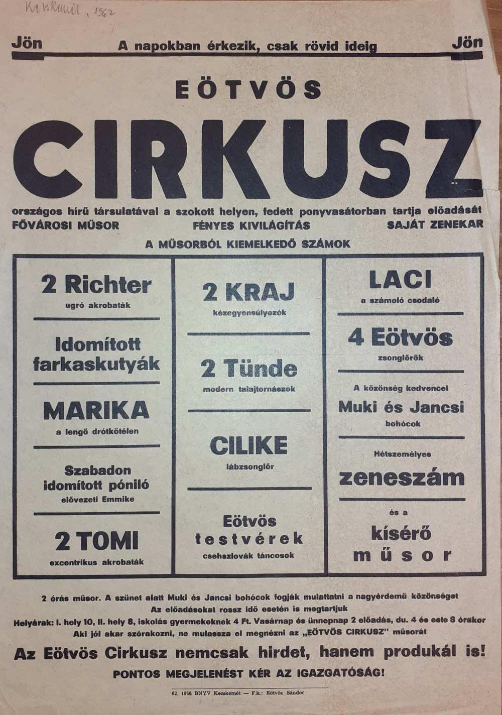 Az Eötvös Cirkusz színlapja. Kecskemét, 1962. – Színháztörténeti és Zeneműtár