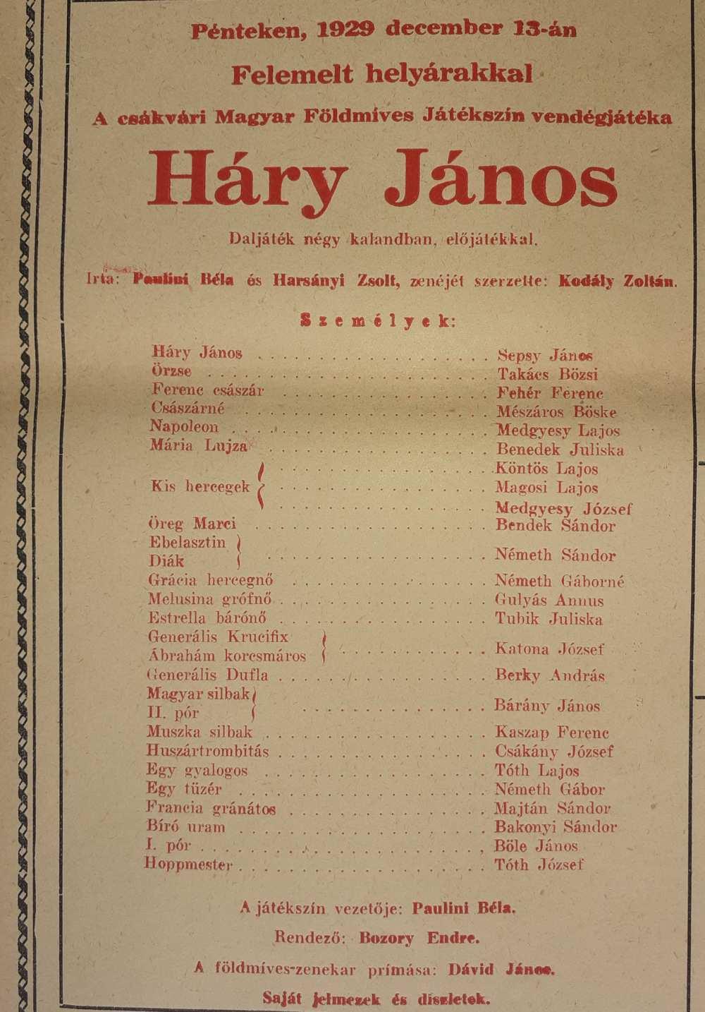 Háry János. A Nemzeti Színház Kamaraszínháza, 1929. december 13. A színlap részlete – Színháztörténeti és Zeneműtár