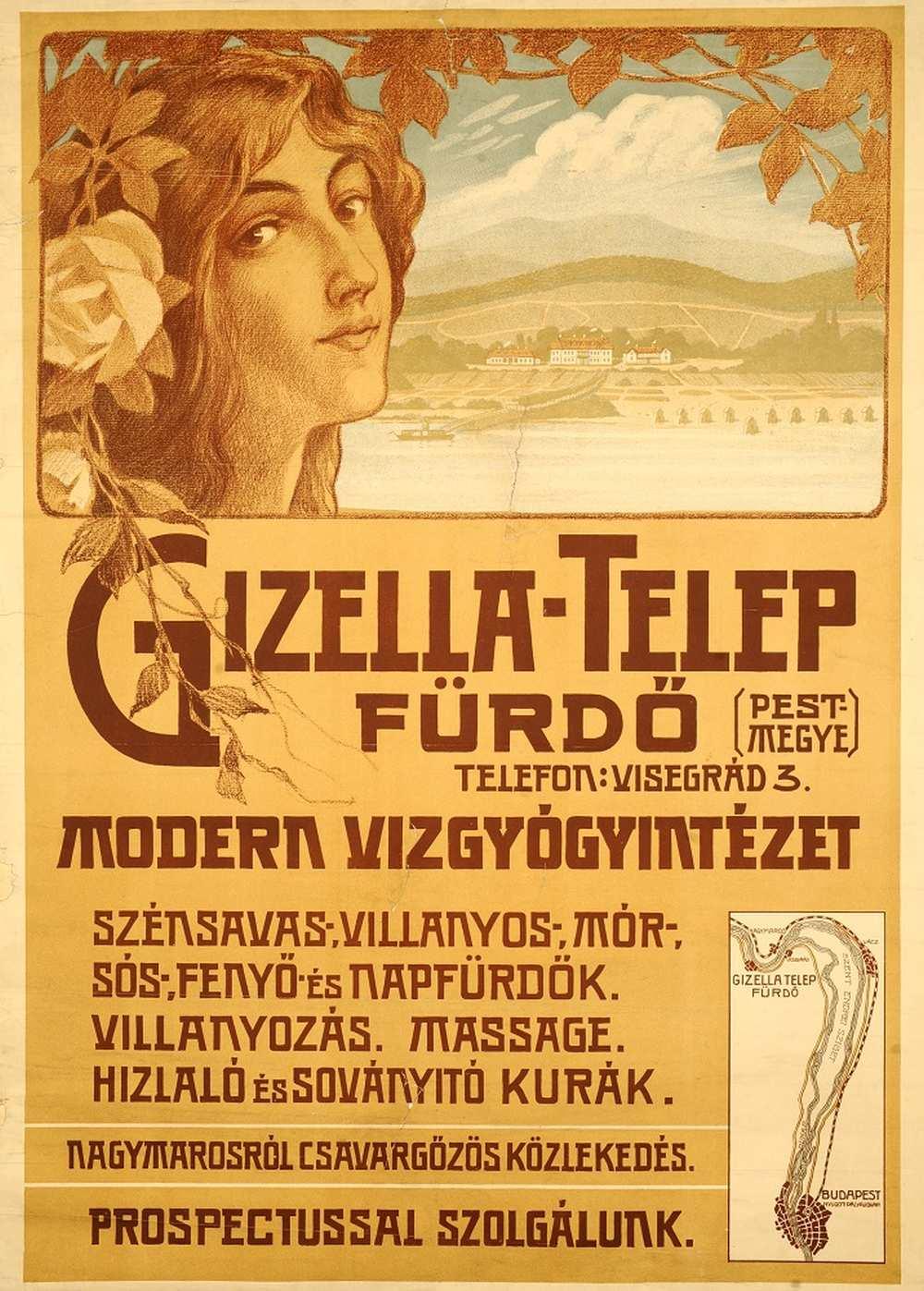 Gizella-Telep fürdő – Térkép-, Plakát- és Kisnyomtatványtár. Jelzet: PKG.1914e/426 http://nektar.oszk.hu/hu/manifestation/2771648