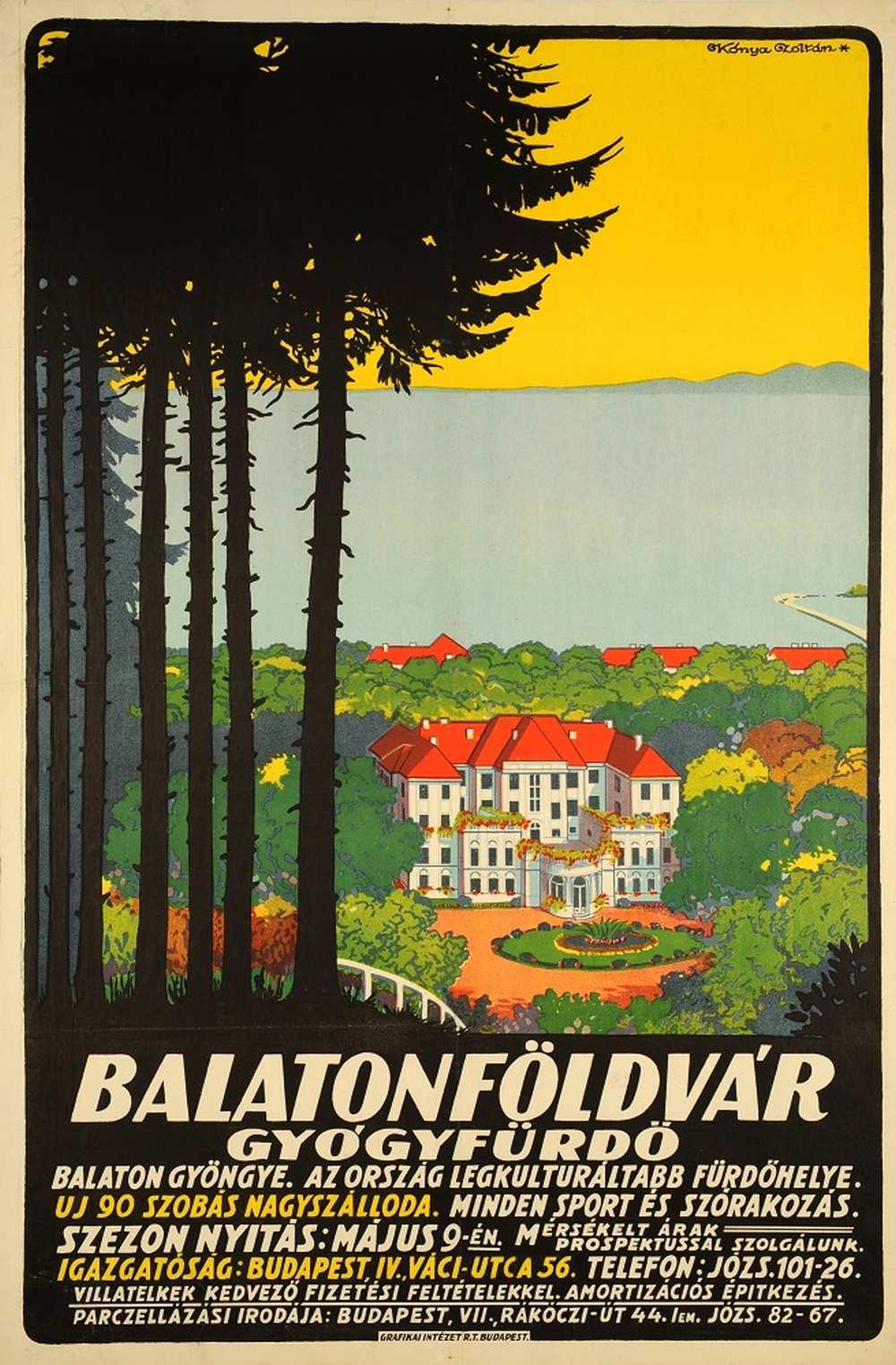 Kónya Zoltán: Balatonföldvár gyógyfürdő (1926). Jelzet: PKG.1926/383 – Térkép-, Plakát- és Kisnyomtatványtár http://nektar.oszk.hu/hu/manifestation/2779928