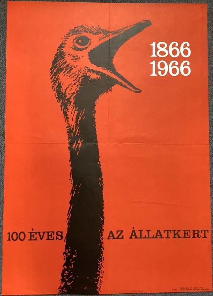 100 éves az Állatkert. Plakát. Grafikus: Muray Róbert (1931–2009). – Térkép-, Plakát- és Kisnyomtatványtár. Jelzet: PKG.1966/494