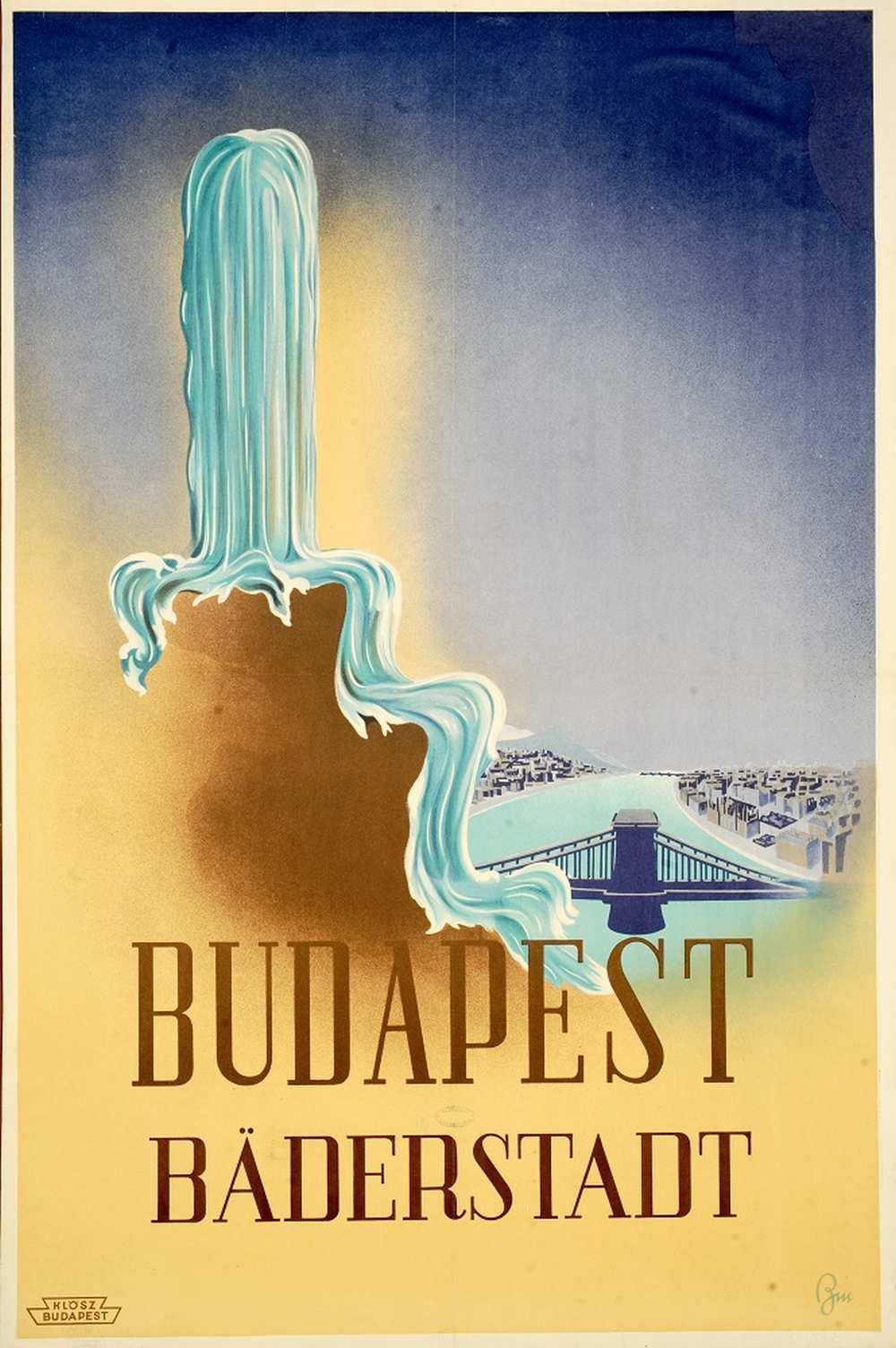 Byssz Róbert: Budapest Bäderstadt (1939). Jelzet: PKG.én/190 – Térkép-, Plakát- és Kisnyomtatványtár http://nektar.oszk.hu/hu/manifestation/2769193