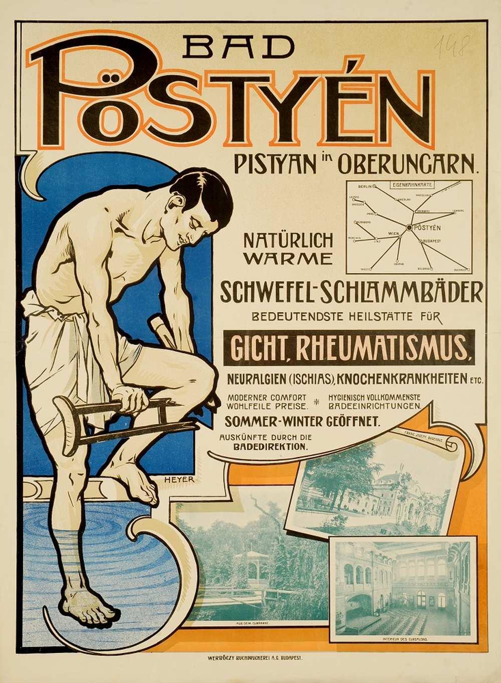 Heyer Artúr: Bad Pöstyén – Térkép-, Plakát- és Kisnyomtatványtár. Jelzet: PKG.1914e/148 http://nektar.oszk.hu/hu/manifestation/2770751