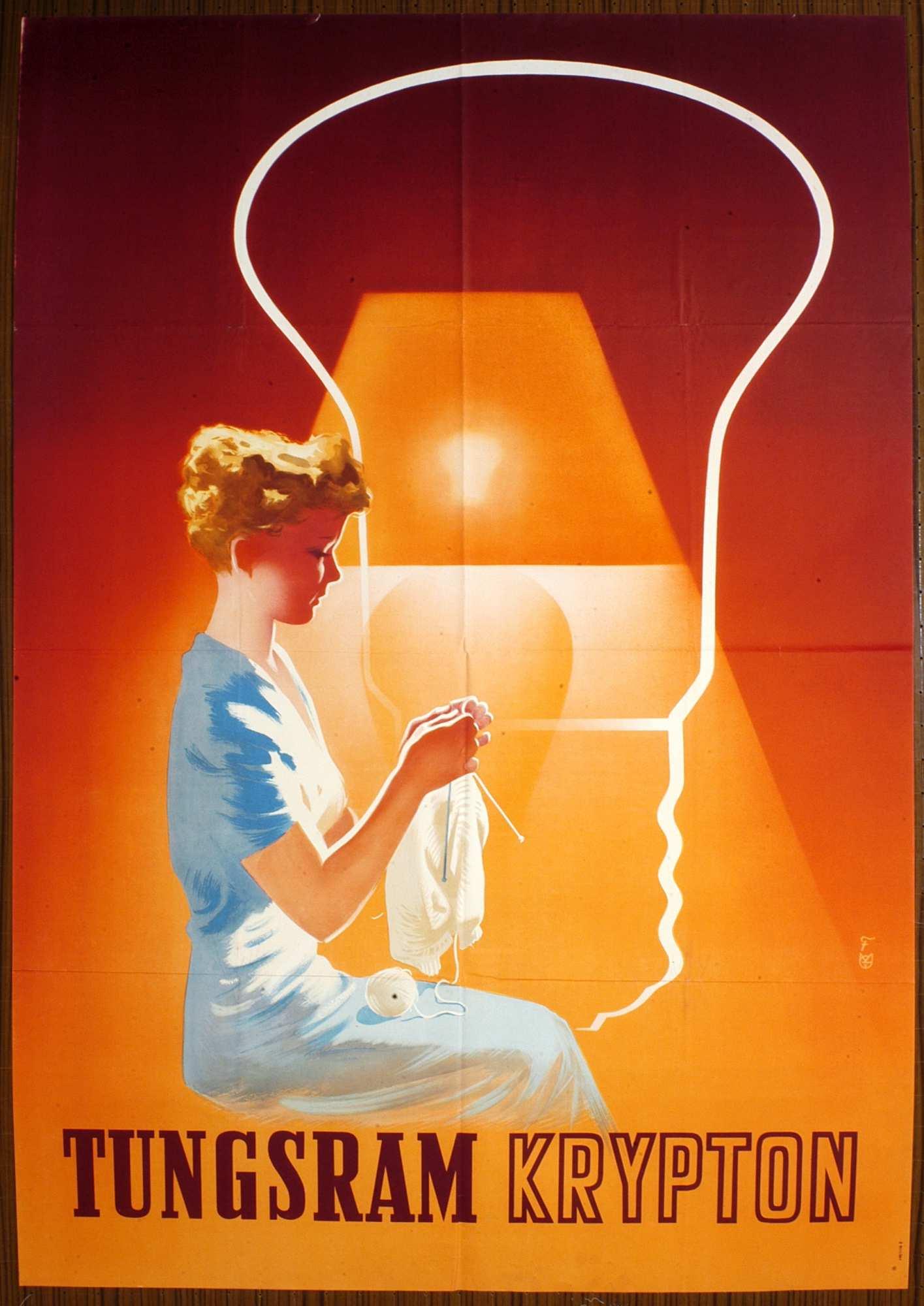 Tungsram krypton. Grafikus: Fejes Gyula. Jelzet: PKG.1953/502 – Plakát- és Kisnyomtatványtár