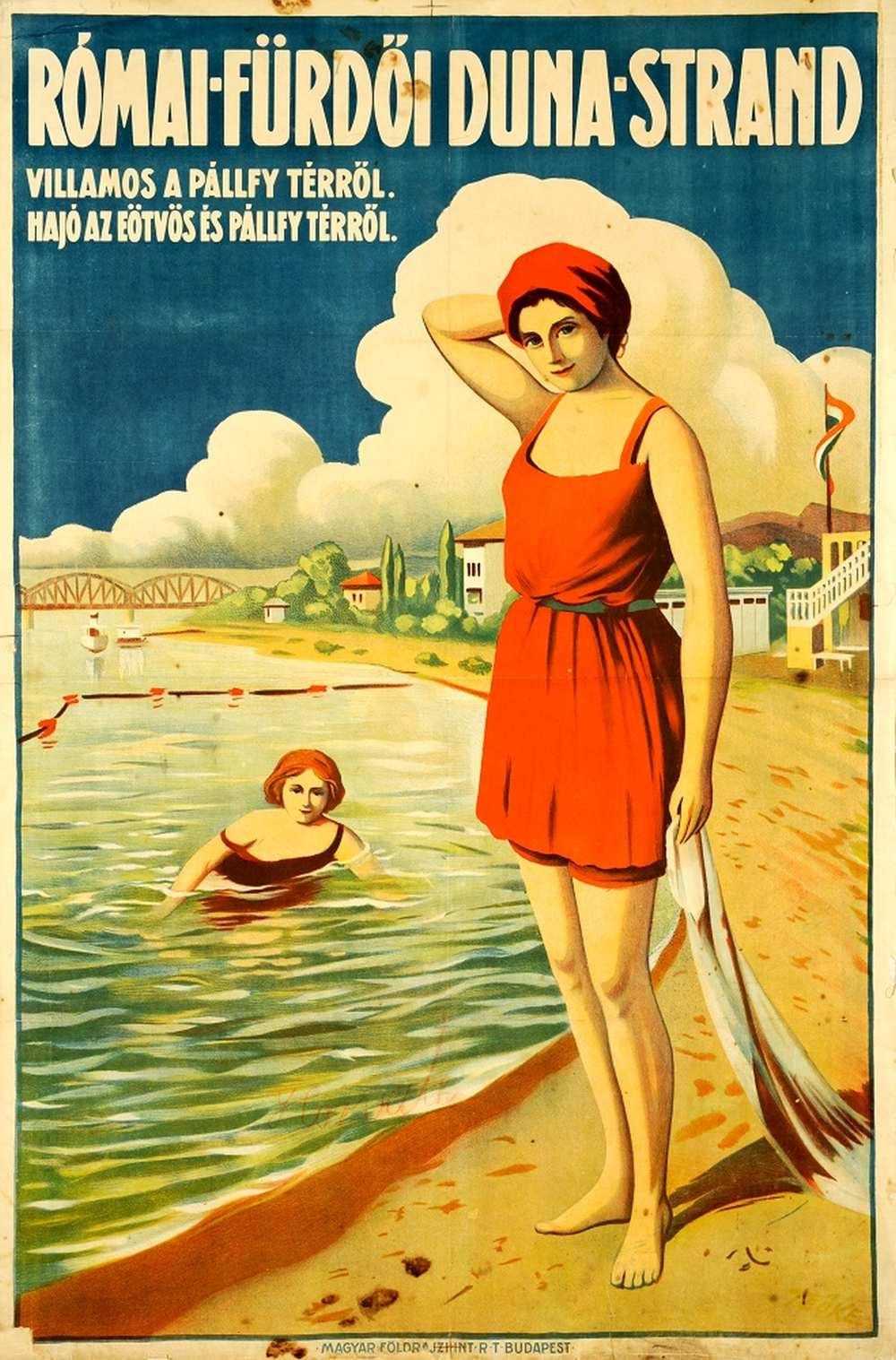 Római-fürdői Duna-strand (1922). Jelzet: PKG.én/269 – Térkép-, Plakát- és Kisnyomtatványtár http://nektar.oszk.hu/hu/manifestation/2769532