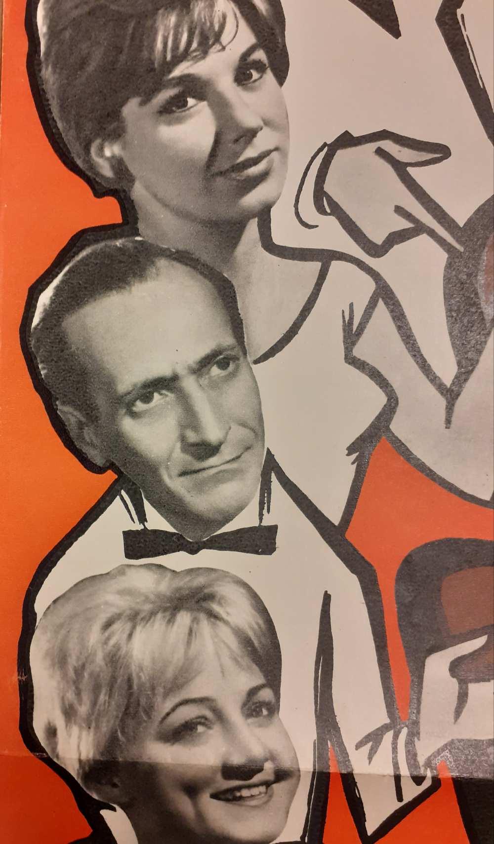 Benedek Tibor színésztársaival. Foglaljon helyet a Vidám színpad és a Kisszínpad előadásaira! Vidám Színpad [1963]. Színlaprészlet – Színháztörténeti és Zeneműtár