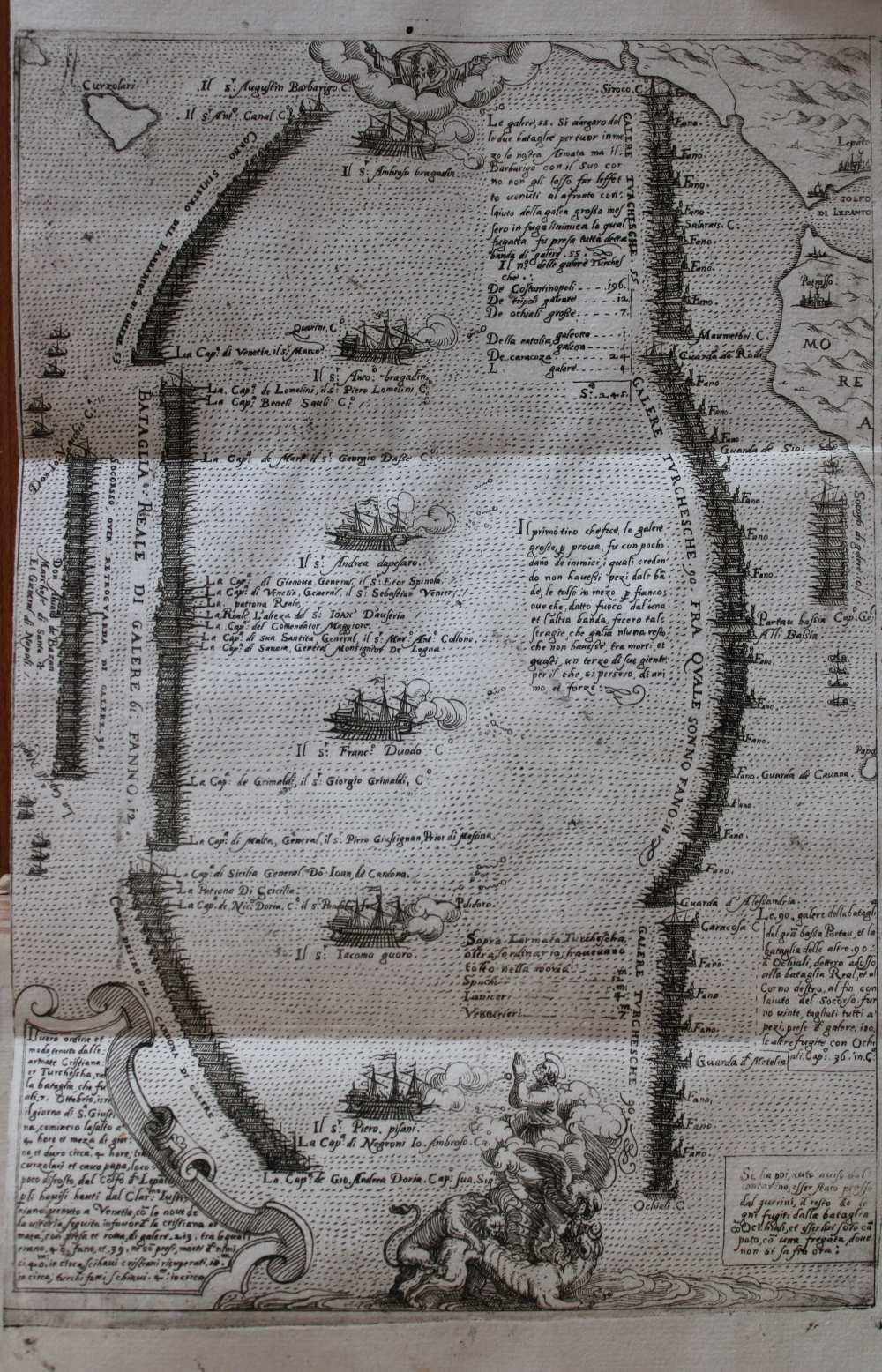 [A grafikát, stílusjegyei alapján, feltehetően Martino Rota készítette]: L'ordine delle galere et le insegne loro … A gályák hadrendje és jelvénye a dicső török elleni csatában Velencénél. 1571-ben Jelzet: RNYT Röpl. 281 – Régi Nyomtatványok Tára