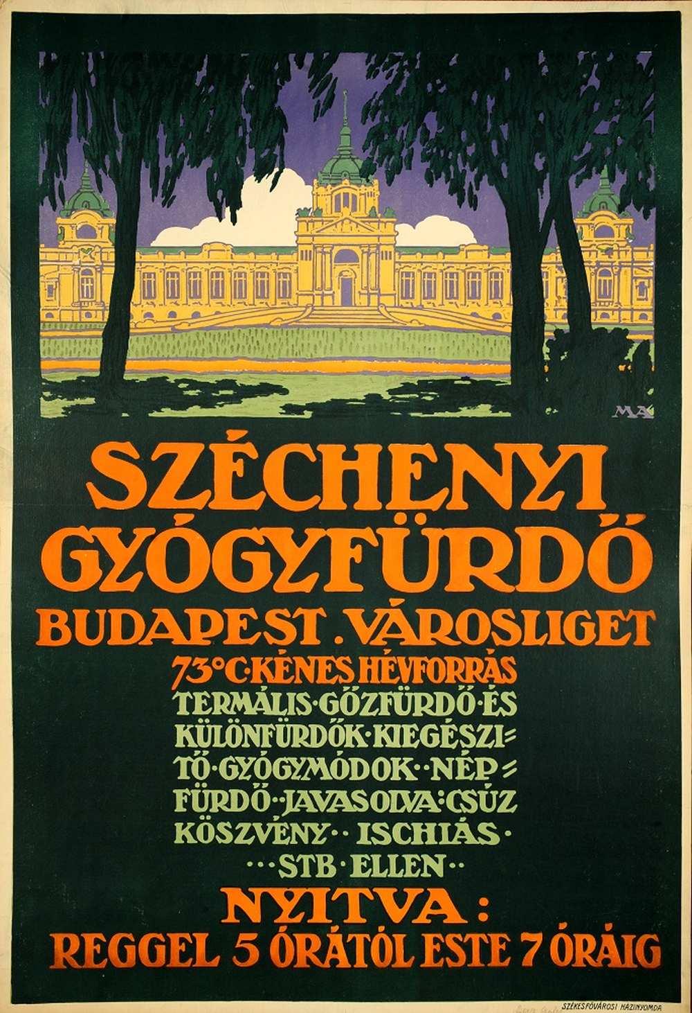 Széchényi Gyógyfürdő Budapest – Térkép-, Plakát- és Kisnyomtatványtár. Jelzet: PKG.1914e/324/a http://nektar.oszk.hu/hu/manifestation/2794566