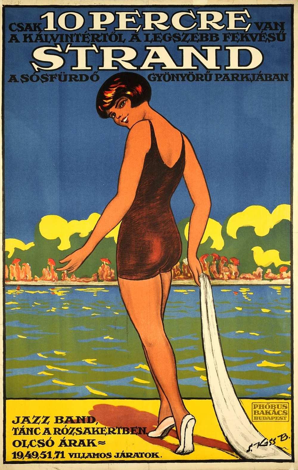 S. Kiss B.: Csak 10 percre van a Kálvintértől a legszebb fekvésű strand a sósfürdő gyönyörű parkjában (1926). Jelzet: PKG.1926/401 – Térkép-, Plakát- és Kisnyomtatványtár http://nektar.oszk.hu/hu/manifestation/2779946