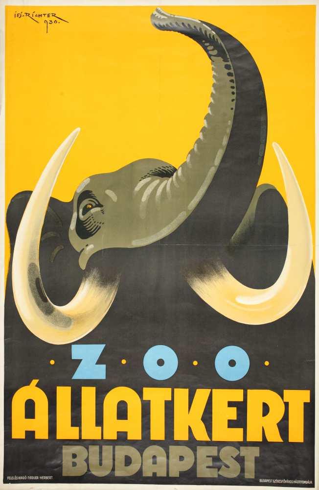 Zoo – Állatkert Budapest. Plakát. Grafikus: Richter Aladár (1898–1950) – Térkép-, Plakát- és Kisnyomtatványtár. Jelzet: PKG.1930/174