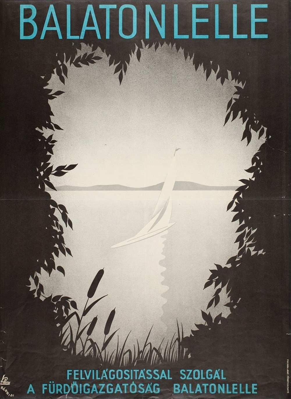 Bánhidi Andor: Balatonlelle (1937). Jelzet: PKG.1937/216 – Térkép-, Plakát- és Kisnyomtatványtár http://nektar.oszk.hu/hu/manifestation/2852826