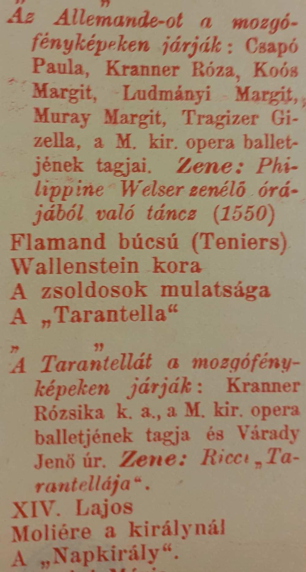 Részlet A táncz eredeti színlapjáról – Színháztörténeti és Zeneműtár