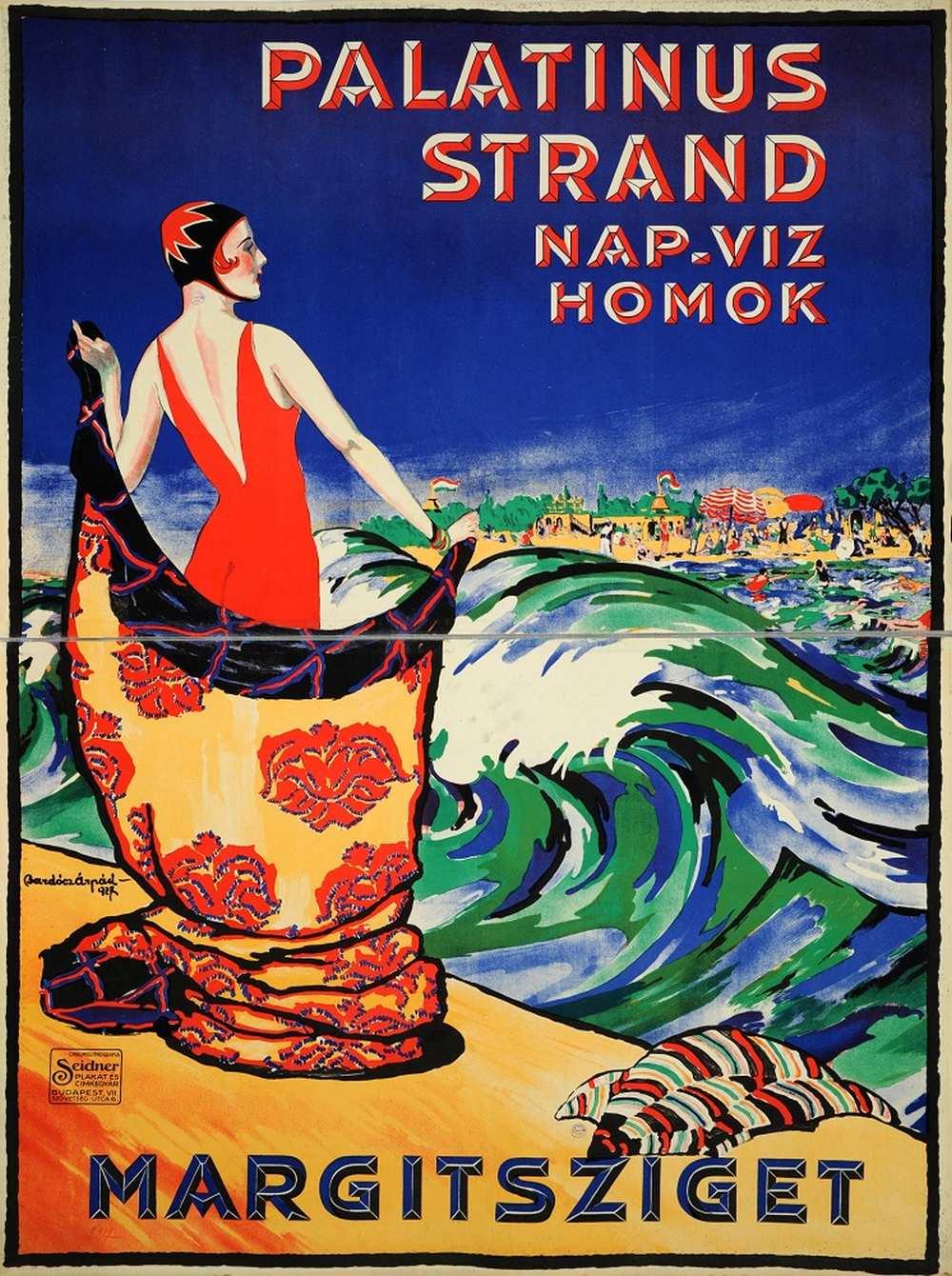 Bardócz Árpád: Palatinus strand nap víz homok (1927). Jelzet: PKG.1927/190 – Térkép-, Plakát- és Kisnyomtatványtár http://nektar.oszk.hu/hu/manifestation/2663667