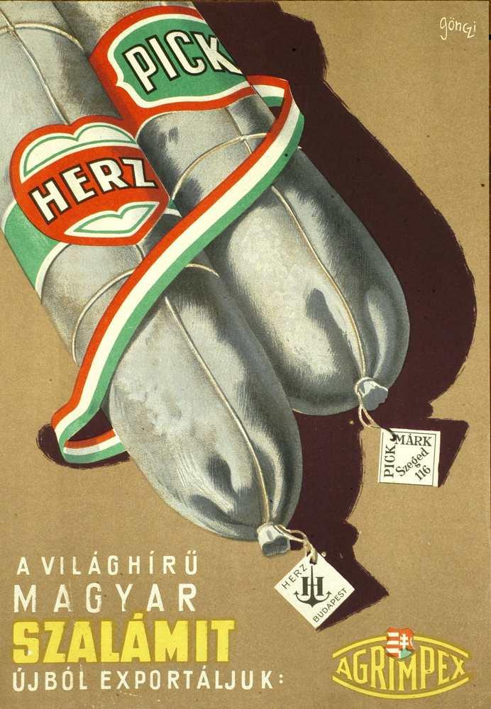 A világhírű magyar szalámit újból exportáljuk. Plakát. Grafikus: Gönczi Gebhardt Tibor, [1950] – Térkép-, Plakát- és Kisnyomtatványtár. Jelzet: PKG.1950/44/b