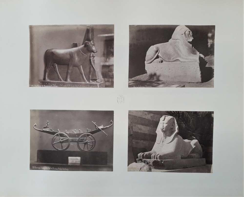 Pascal Sébah: Ókori egyiptomi szobrok négy kis fényképen. Albumlap a Dm 488 jelzetű mappából.