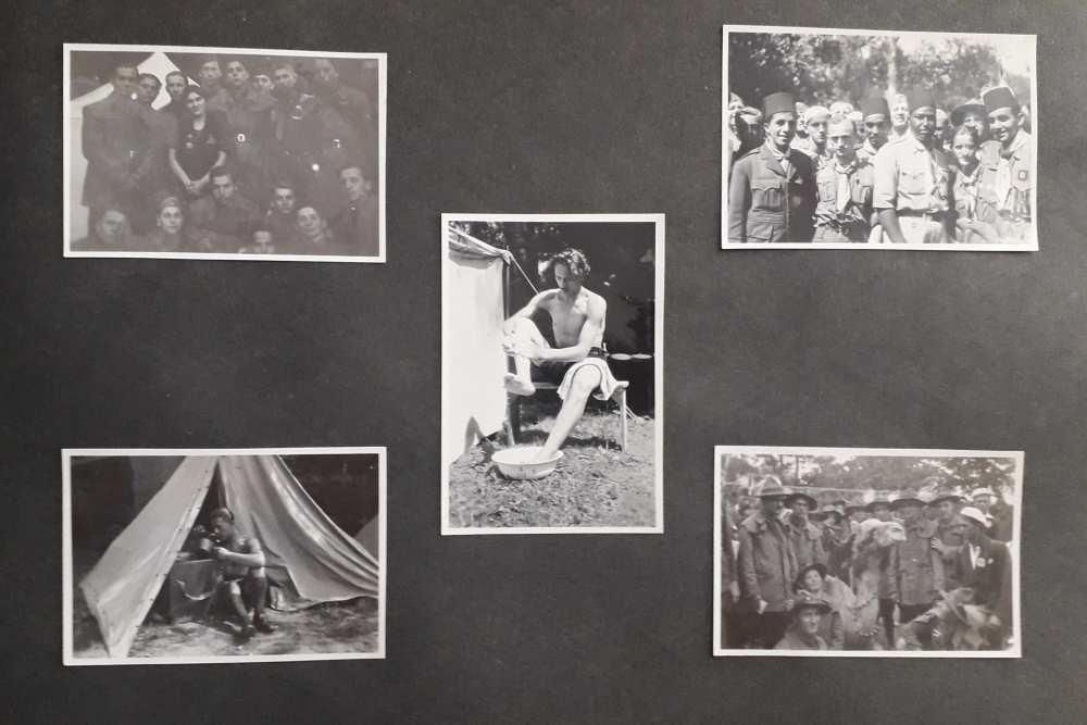 A FAlbum 1198 egyik oldala. FTA 1681 – FTA 1685. Csoportképek és hétköznapi jelenetek a cserkész világtalálkozóról.