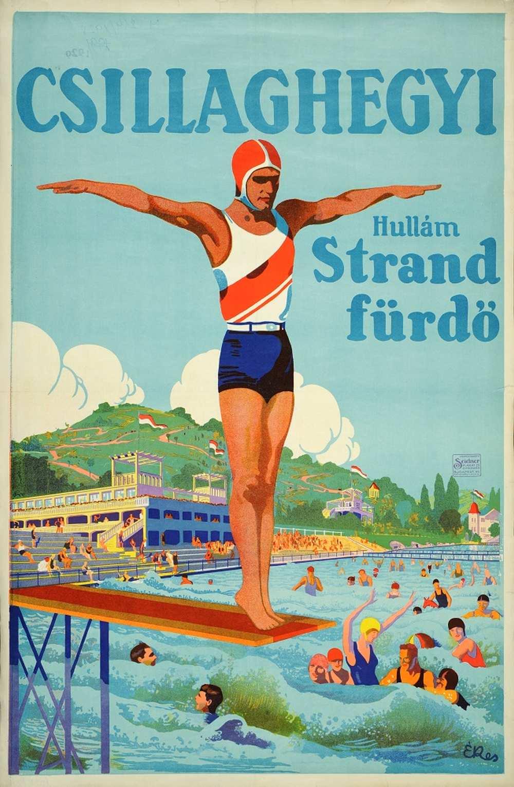 Csabai-Ékes Lajos: Csillaghegyi Hullám Strand fürdő (1928). Jelzet: PKG.1928/214 – Térkép-, Plakát- és Kisnyomtatványtár http://nektar.oszk.hu/hu/manifestation/2663615