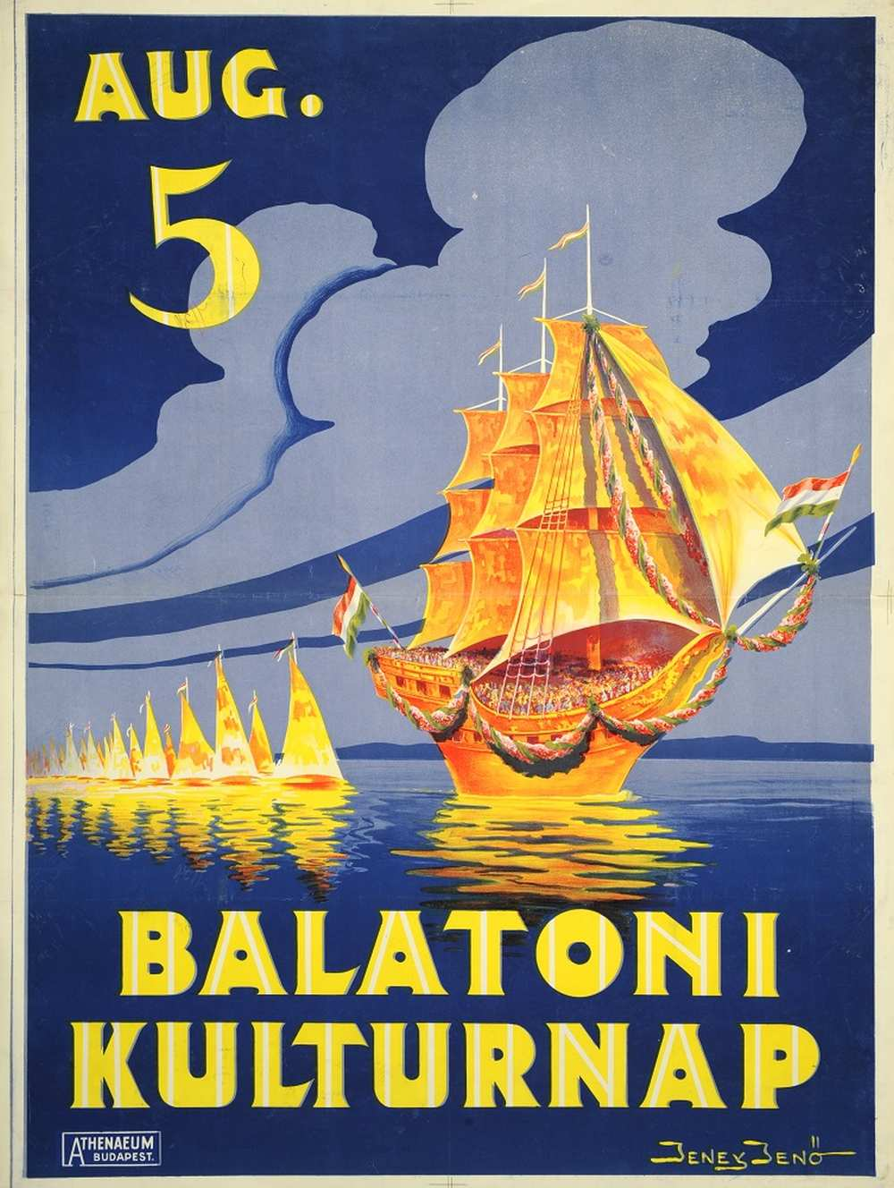 Jeney Jenő: Balatoni kultúrnap (1928). Jelzet: PKG.1928/225 – Térkép-, Plakát- és Kisnyomtatványtár http://nektar.oszk.hu/hu/manifestation/2787188
